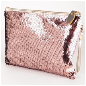 2 Way Sequin Color Changing Clutch Rosegold Silver